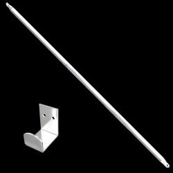 barre & support lg 1,50 m, inox blanc