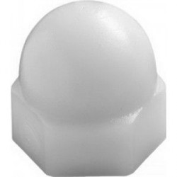 Ecrou polyamide bombé borgne - taille M7 Blanc RAL 9016 qte mini 100